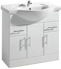 High Gloss White 850mm Basin Unit